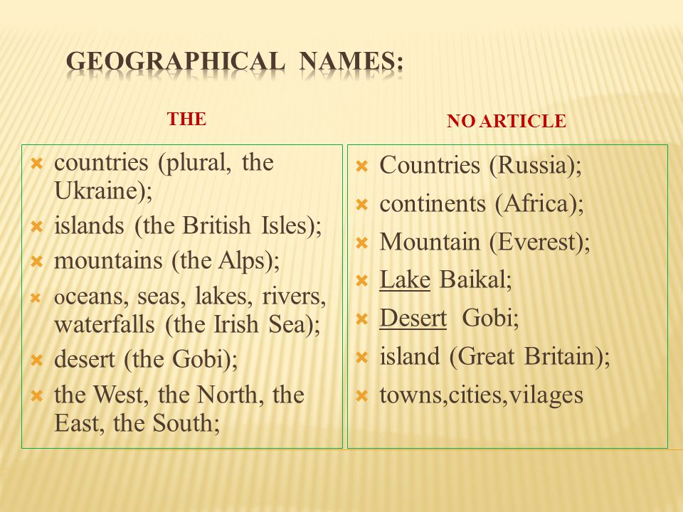 countries (plural, the Ukraine); islands (the British Isles);
