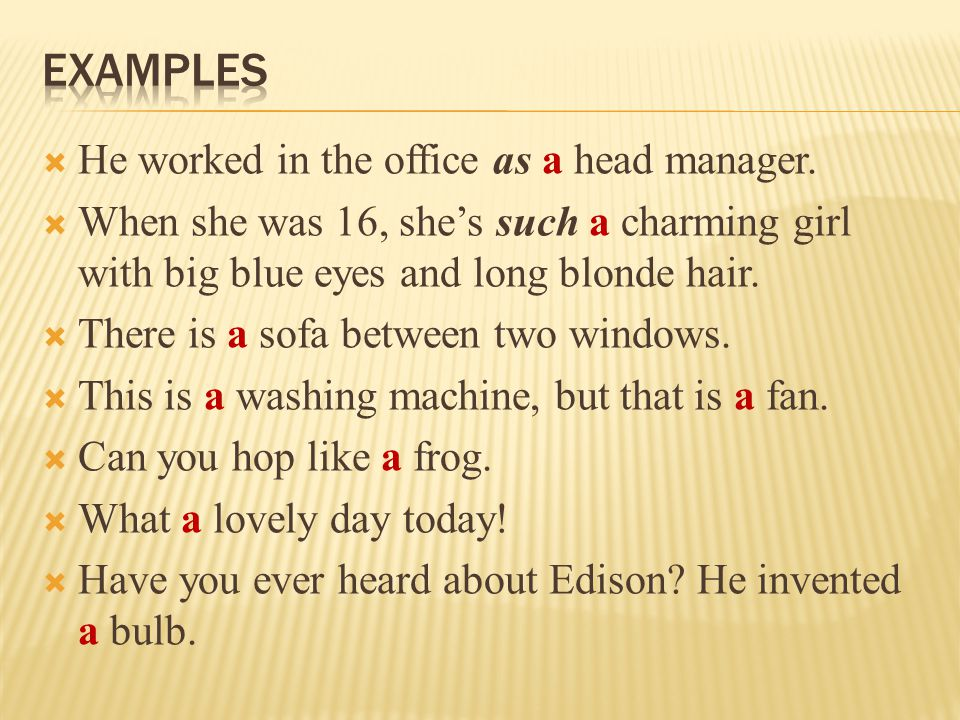 examples He worked in the office as a head manager.