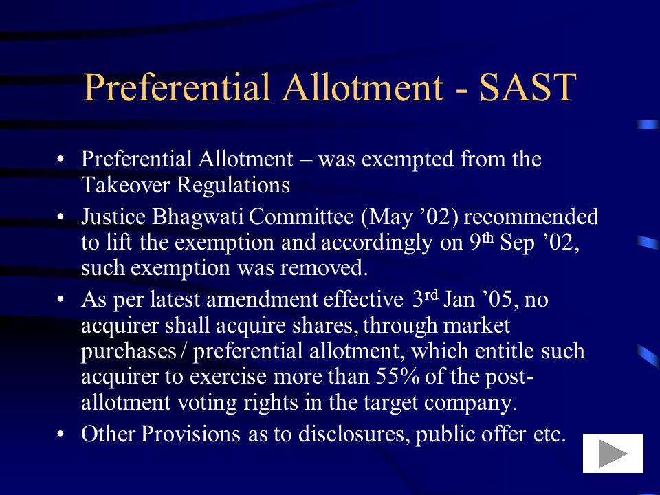 Preferential Allotment - SAST