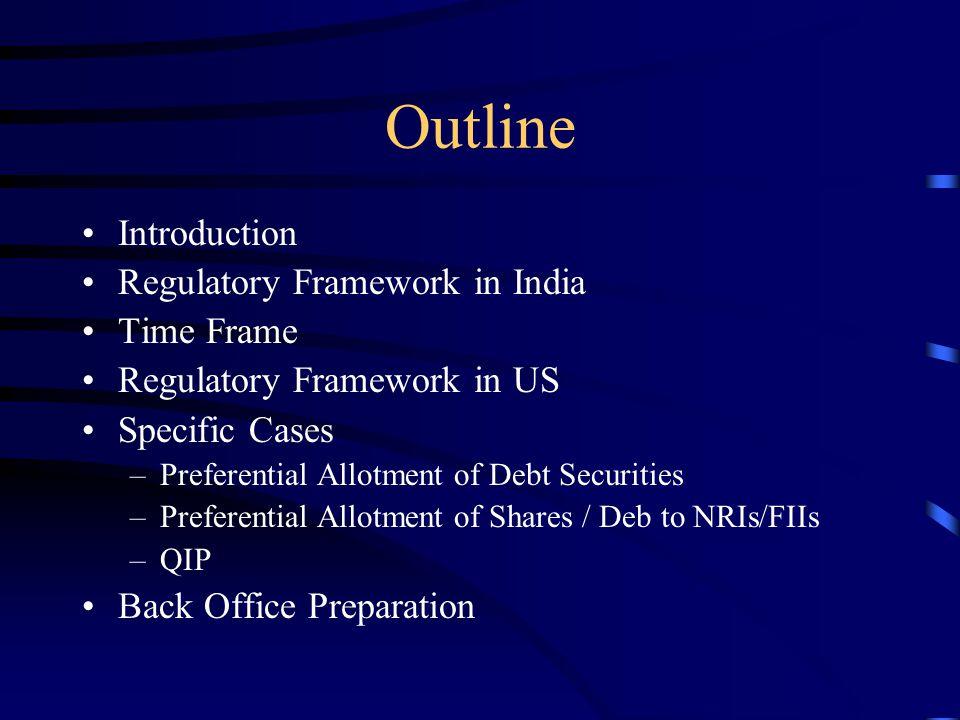 Outline Introduction Regulatory Framework in India Time Frame