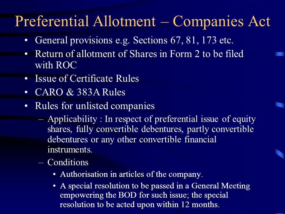 Preferential Allotment – Companies Act