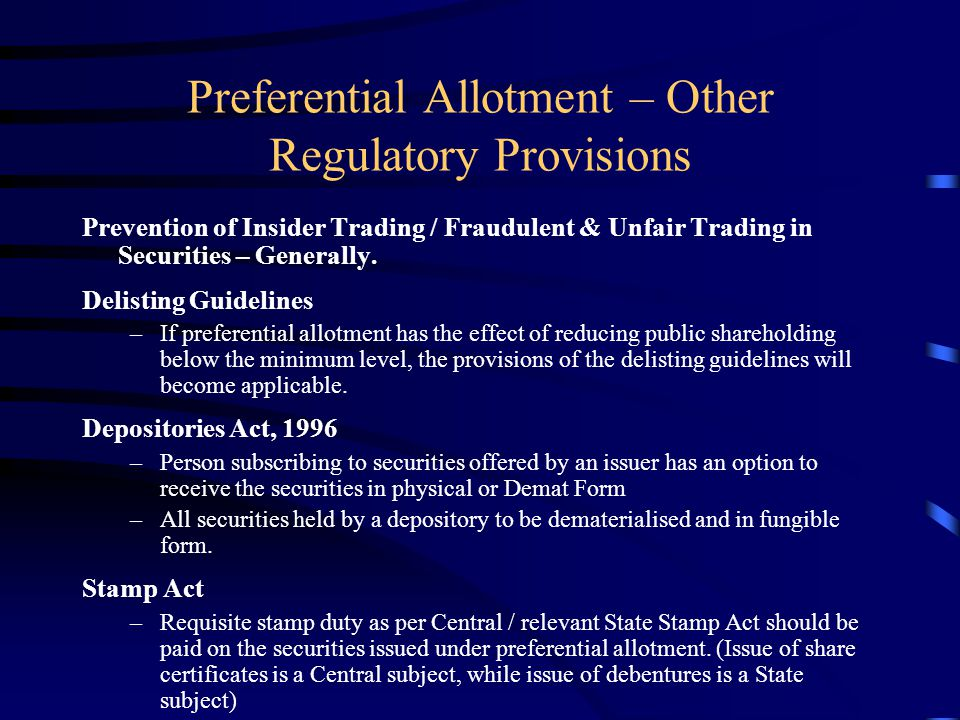 Preferential Allotment – Other Regulatory Provisions