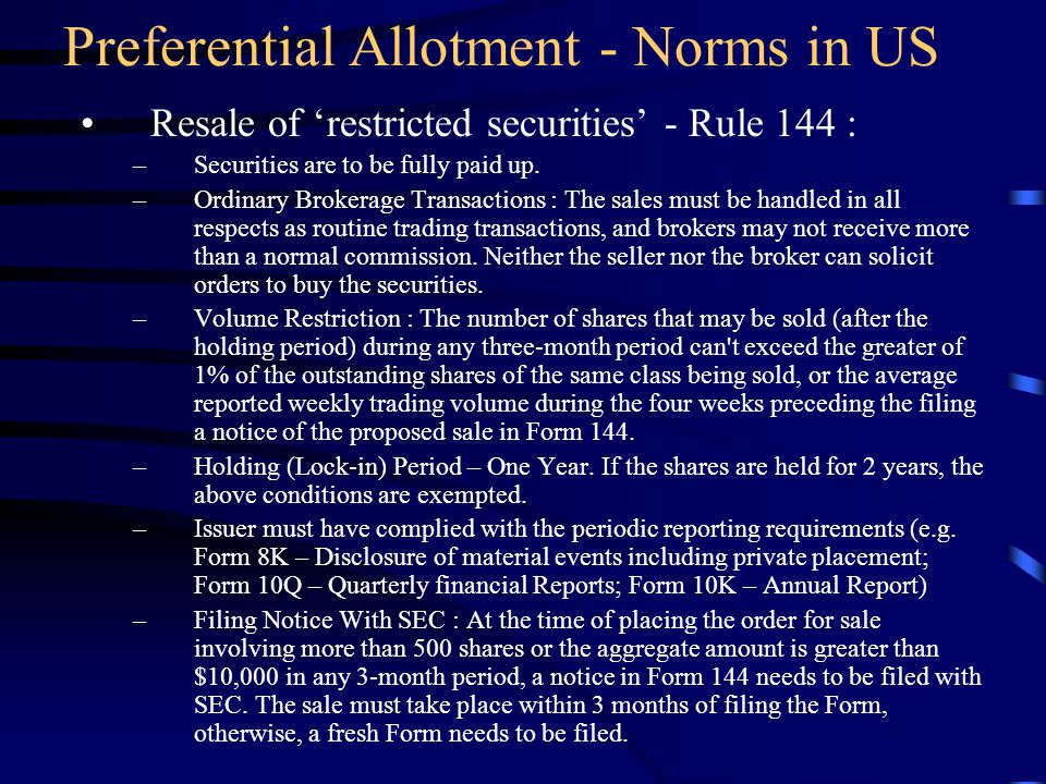 Preferential Allotment - Norms in US