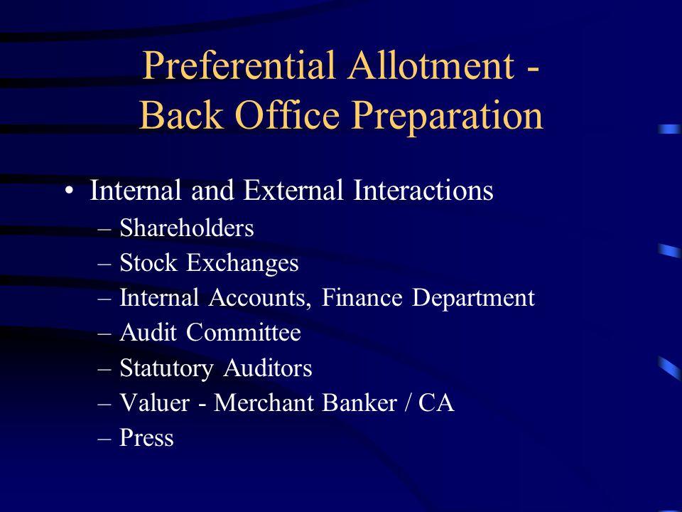 Preferential Allotment - Back Office Preparation