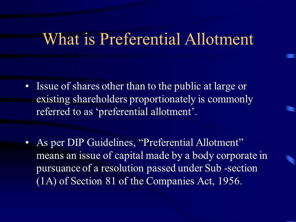 What is Preferential Allotment