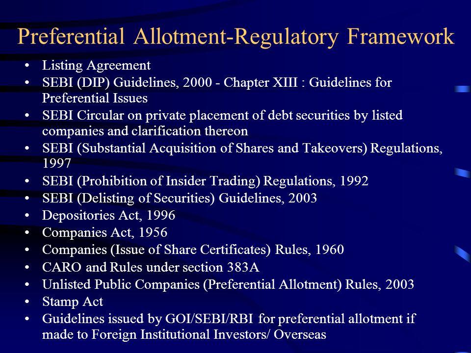 Preferential Allotment-Regulatory Framework