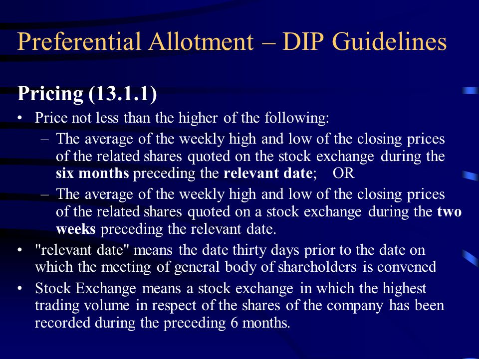 Preferential Allotment – DIP Guidelines