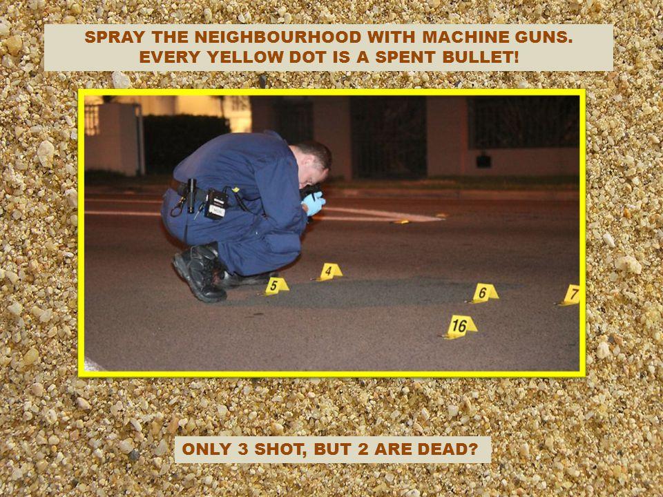 SPRAY THE NEIGHBOURHOOD WITH MACHINE GUNS.