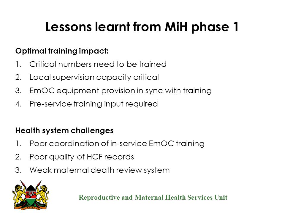 Lessons learnt from MiH phase 1