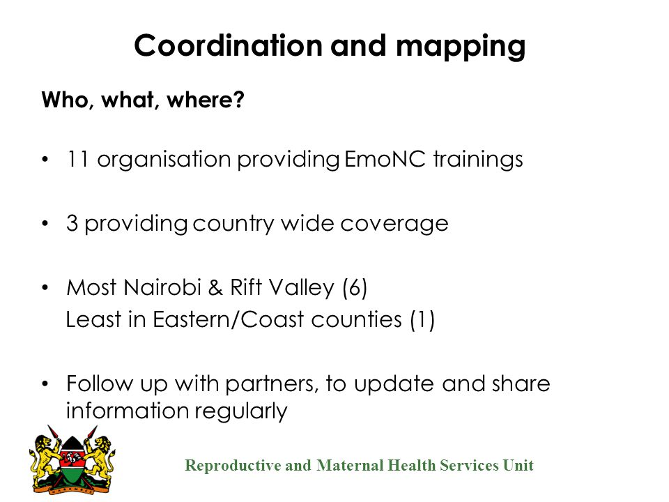 Coordination and mapping