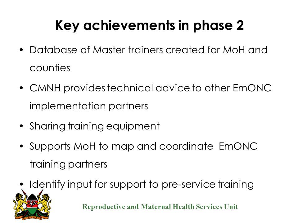 Key achievements in phase 2