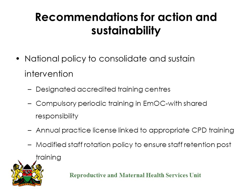 Recommendations for action and sustainability