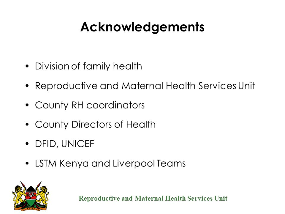 Acknowledgements Division of family health