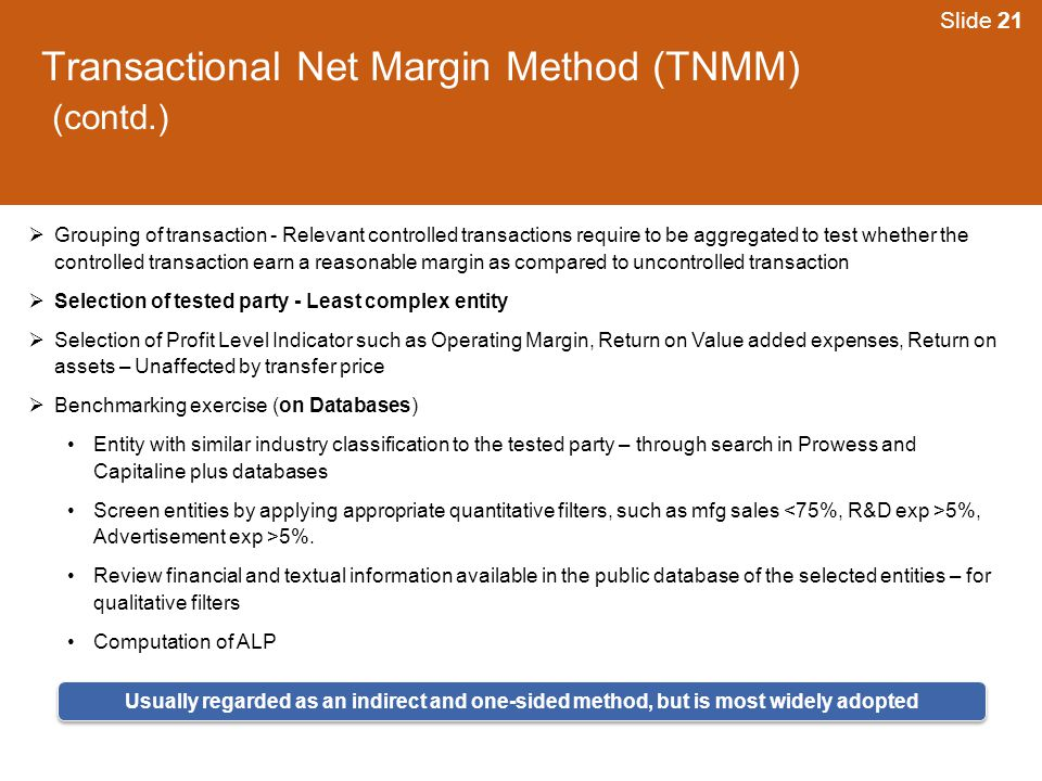Transactional Net Margin Method (TNMM) (contd.)