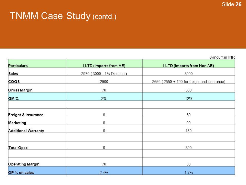 TNMM Case Study (contd.)