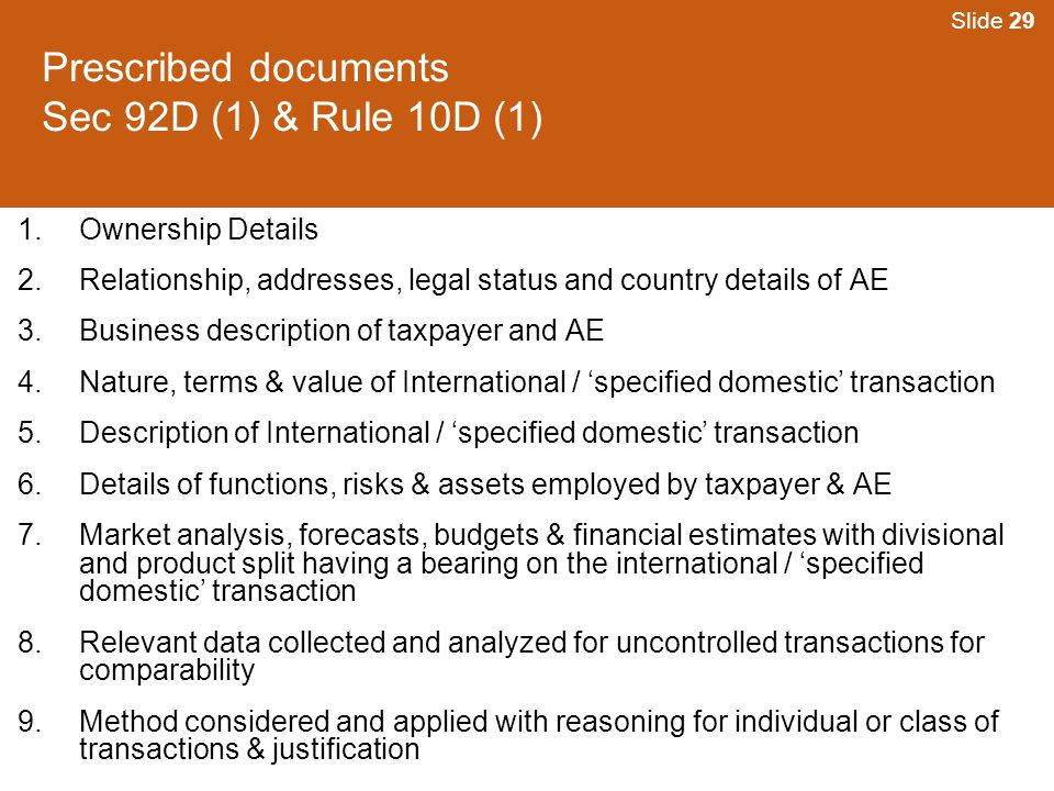 Prescribed documents Sec 92D (1) & Rule 10D (1)