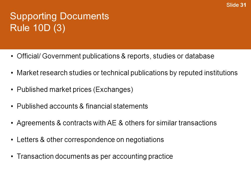 Supporting Documents Rule 10D (3)