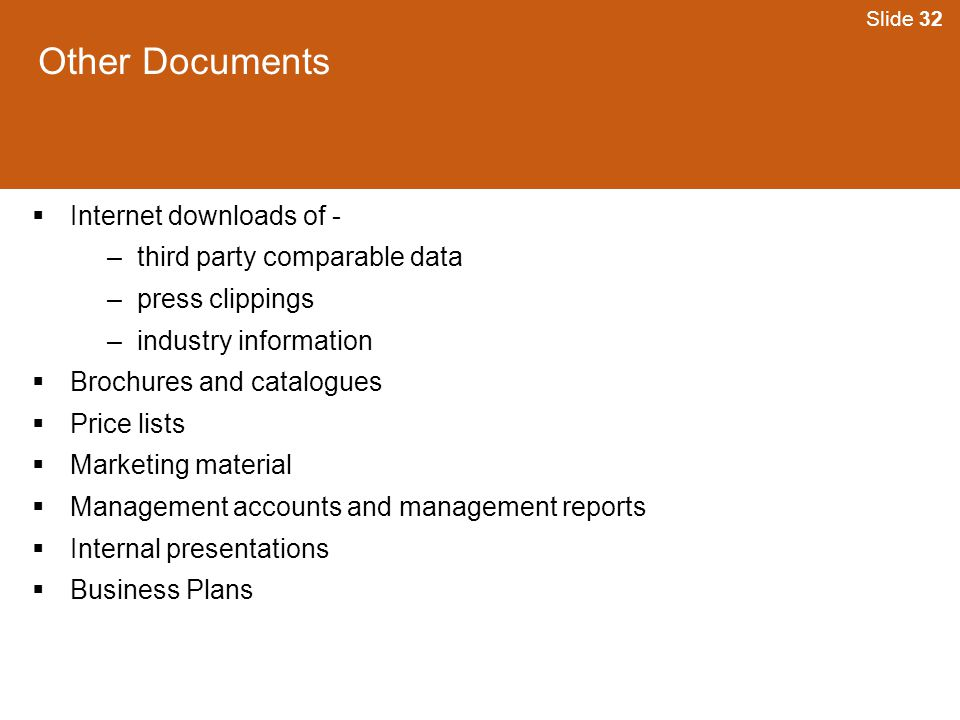 Other Documents Internet downloads of - third party comparable data