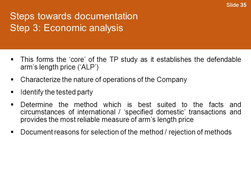 Steps towards documentation Step 3: Economic analysis