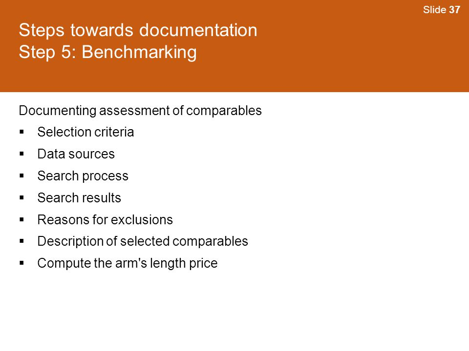 Steps towards documentation Step 5: Benchmarking