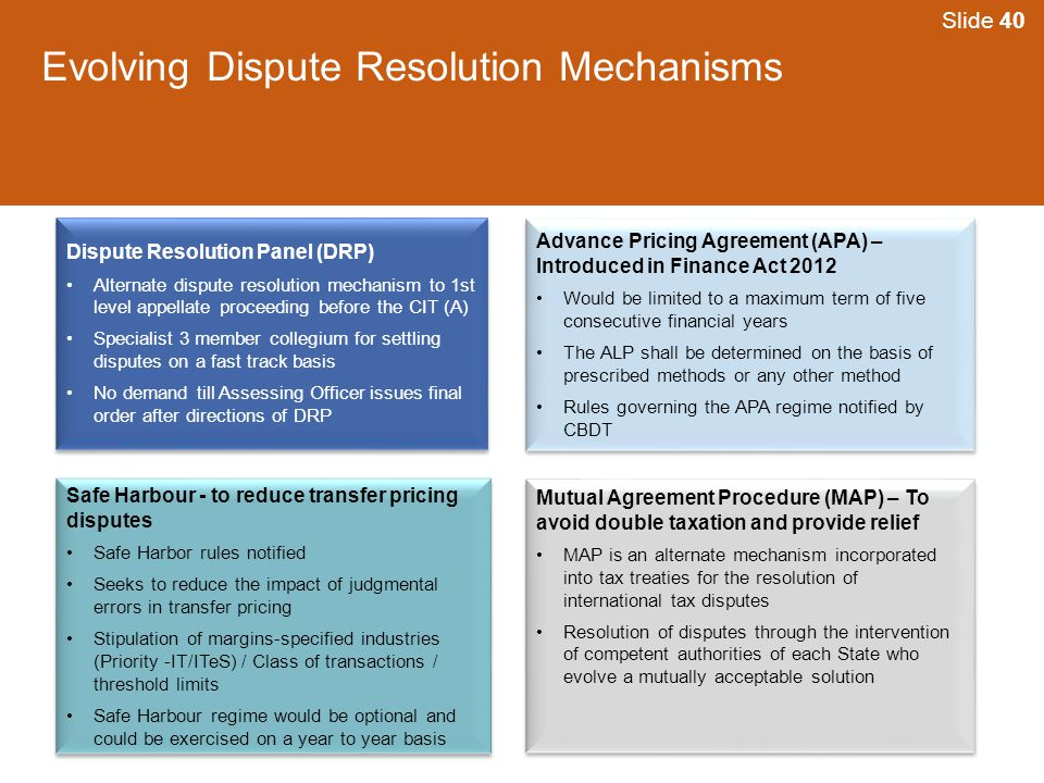 Evolving Dispute Resolution Mechanisms