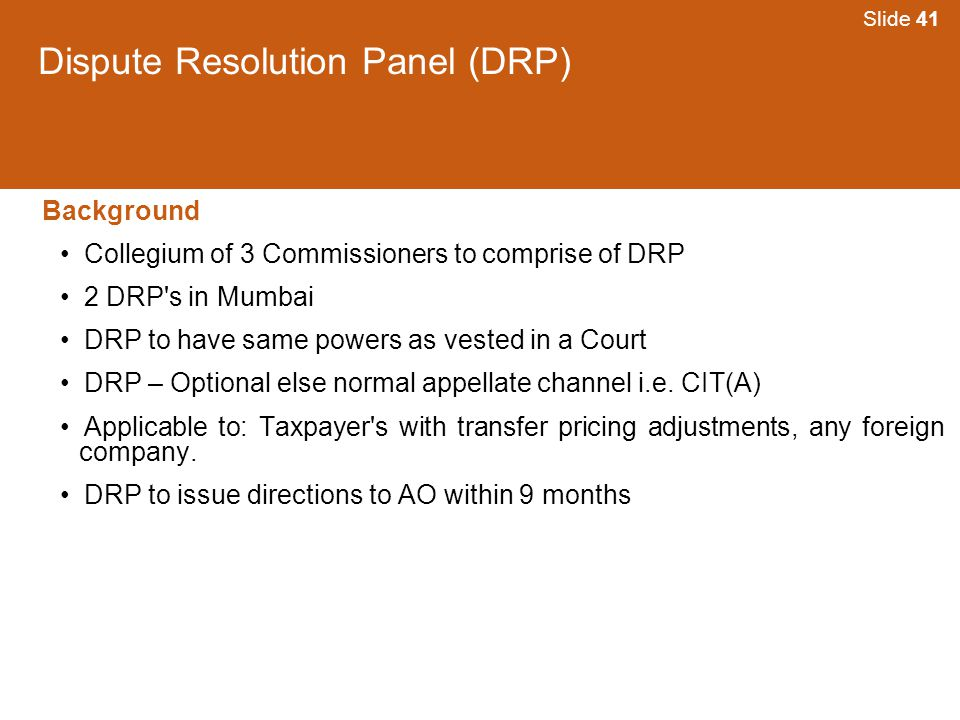 Dispute Resolution Panel (DRP)
