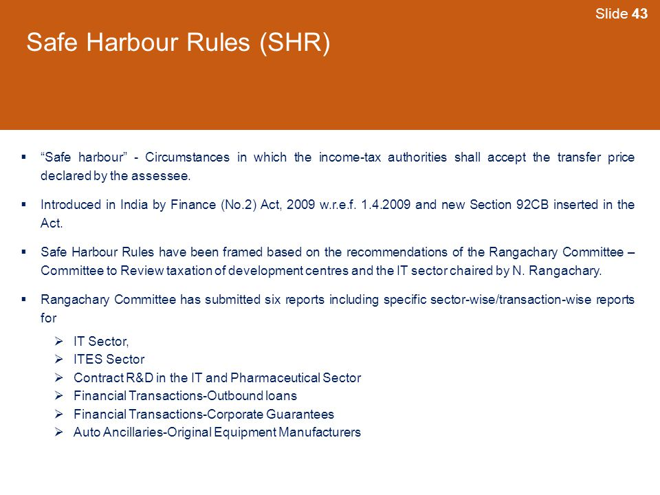Safe Harbour Rules (SHR)