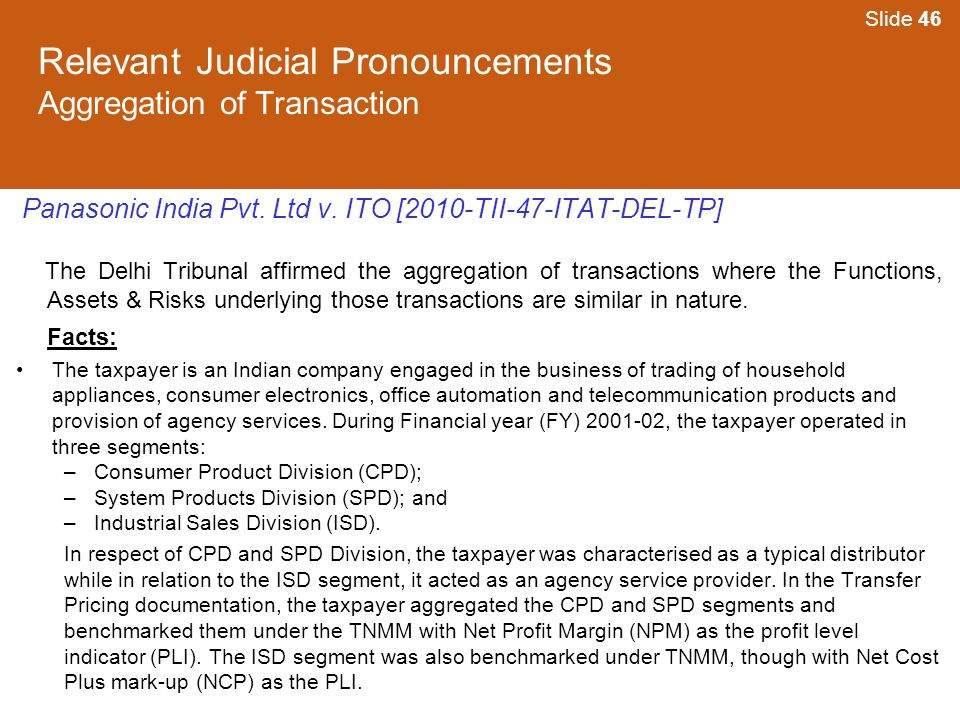 Relevant Judicial Pronouncements Aggregation of Transaction