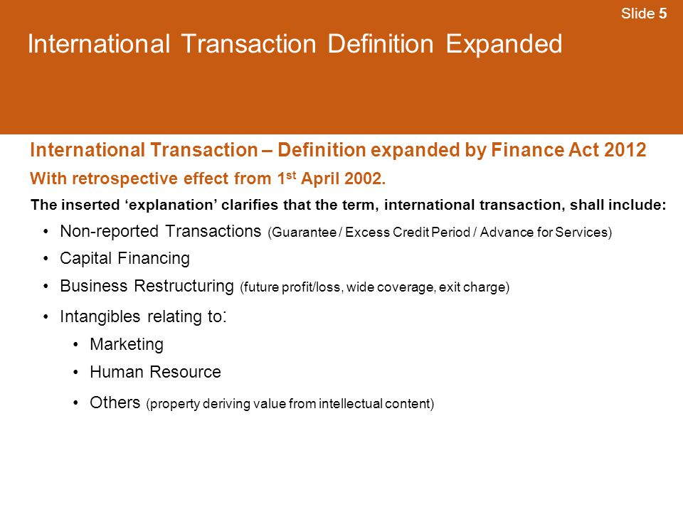 International Transaction Definition Expanded