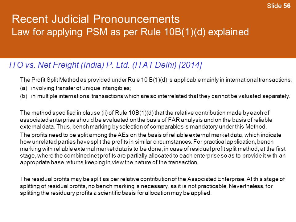 Slide 56 Recent Judicial Pronouncements Law for applying PSM as per Rule 10B(1)(d) explained.