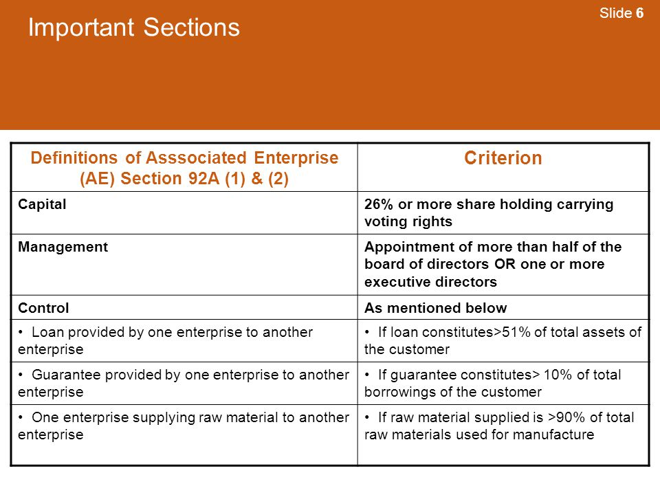 Definitions of Asssociated Enterprise (AE) Section 92A (1) & (2)