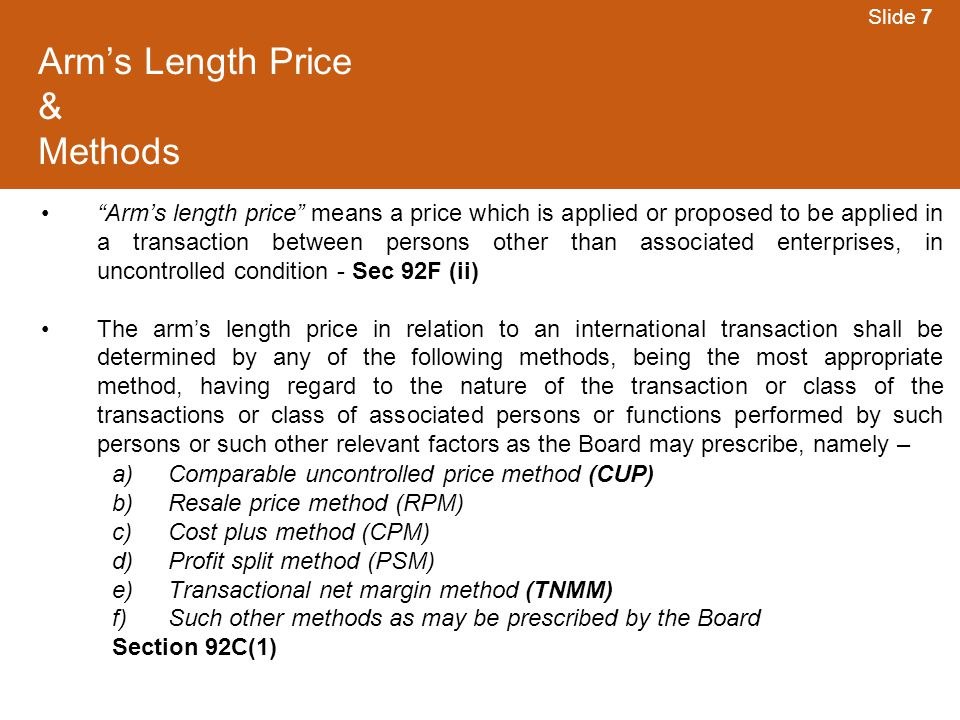 Arm's Length Price & Methods