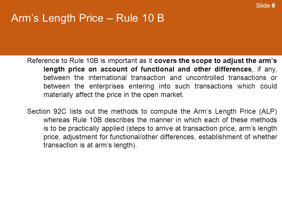 Arm's Length Price – Rule 10 B