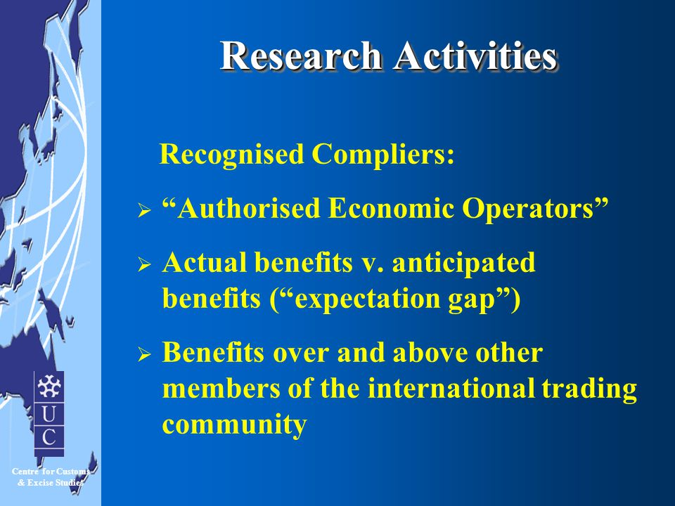 Research Activities Recognised Compliers: