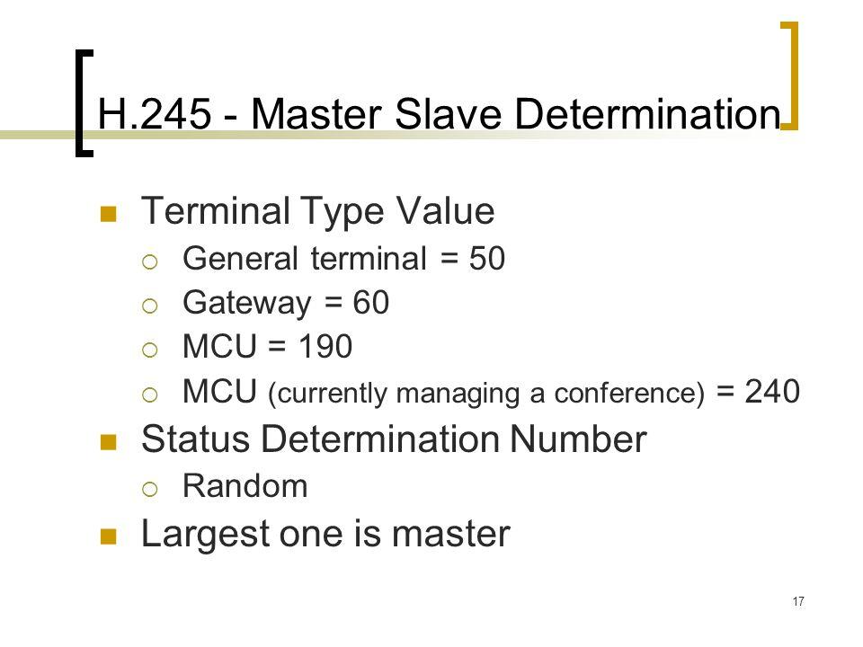 H.245 - Master Slave Determination