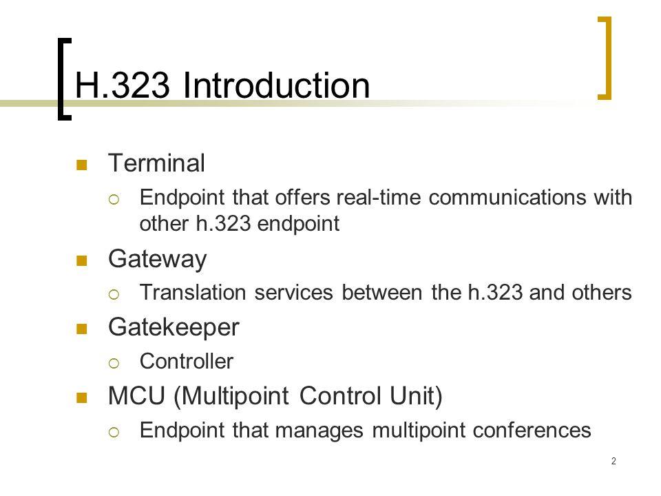 H.323 Introduction Terminal Gateway Gatekeeper