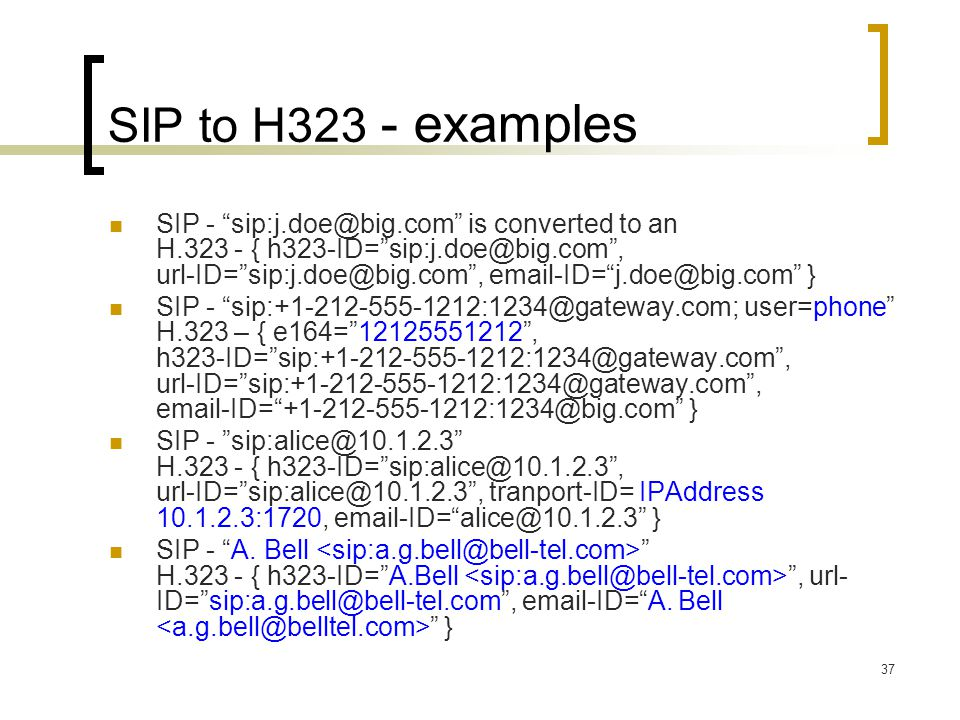 SIP to H323 - examples
