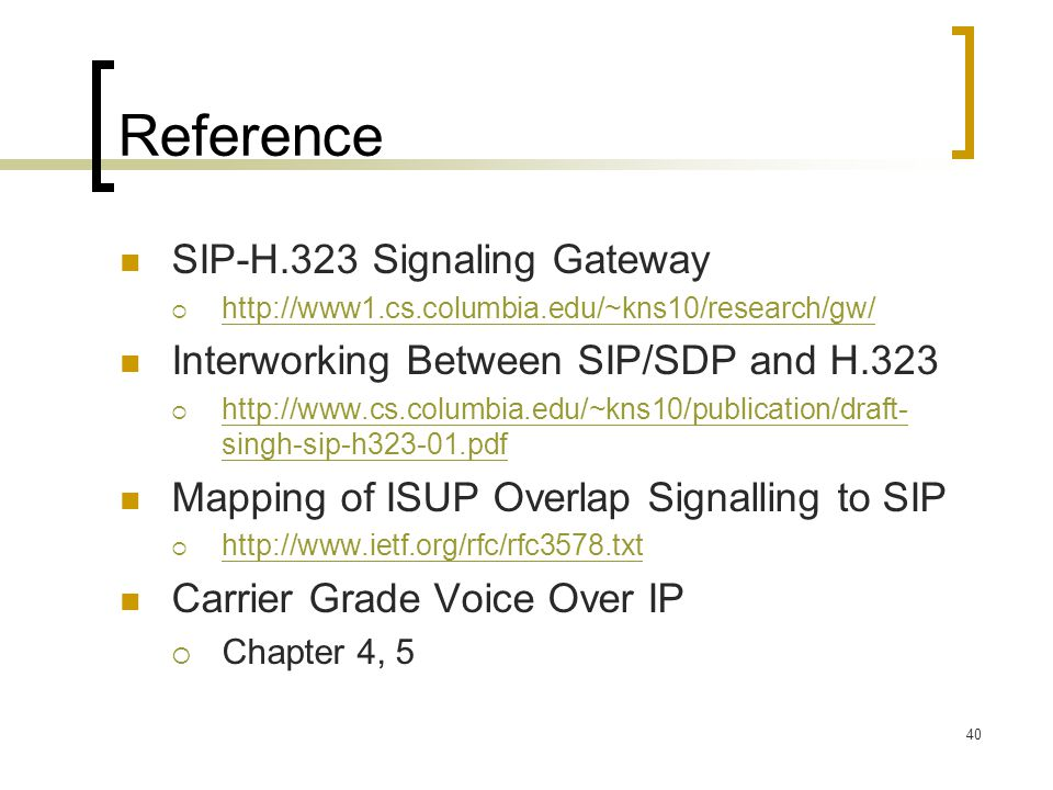Reference SIP-H.323 Signaling Gateway