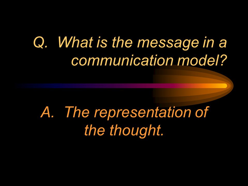 Q. What is the message in a communication model