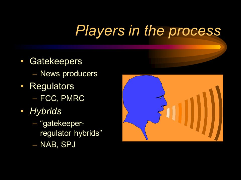 Players in the process Gatekeepers Regulators Hybrids News producers