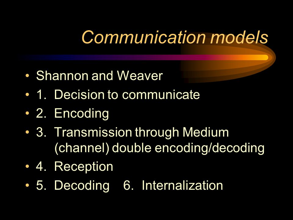 Communication models Shannon and Weaver 1. Decision to communicate