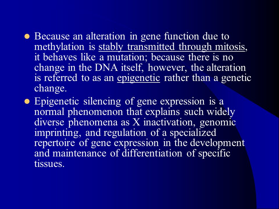 Because an alteration in gene function due to methylation is stably transmitted through mitosis, it behaves like a mutation; because there is no change in the DNA itself, however, the alteration is referred to as an epigenetic rather than a genetic change.