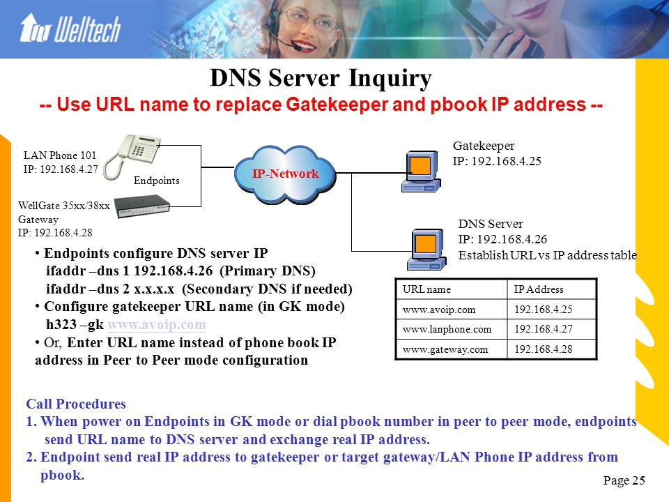 DNS Server Inquiry -- Use URL name to replace Gatekeeper and pbook IP address --