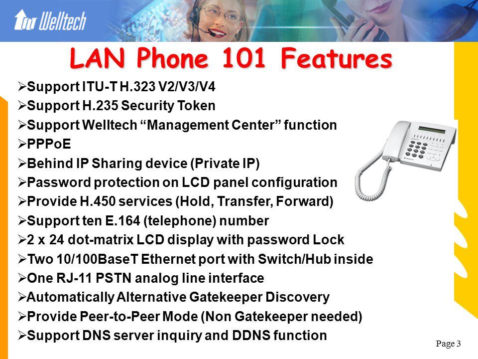 LAN Phone 101 Features Support ITU-T H.323 V2/V3/V4