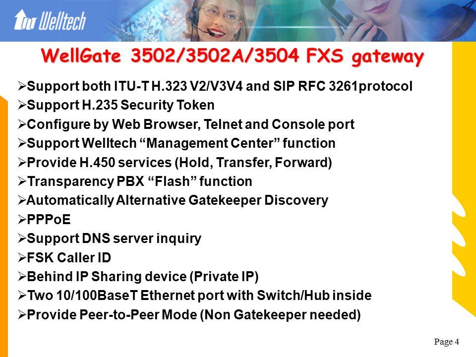 WellGate 3502/3502A/3504 FXS gateway