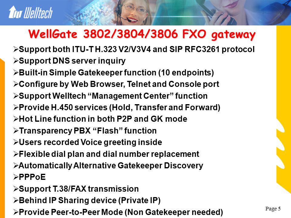 WellGate 3802/3804/3806 FXO gateway