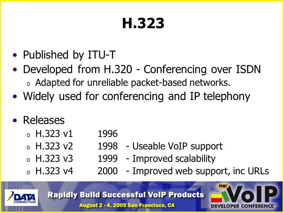 H.323 Published by ITU-T Developed from H.320 - Conferencing over ISDN
