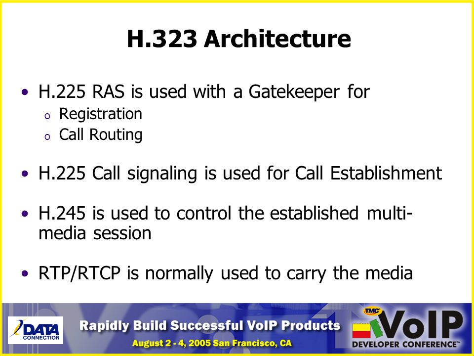 H.323 Architecture H.225 RAS is used with a Gatekeeper for