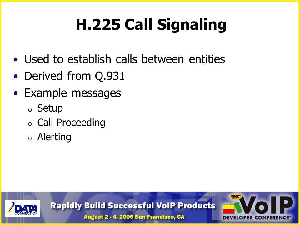 H.225 Call Signaling Used to establish calls between entities