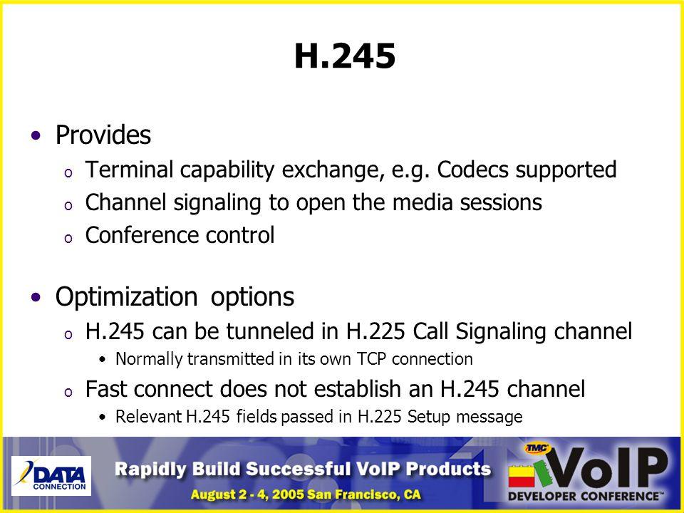 H.245 Provides Optimization options